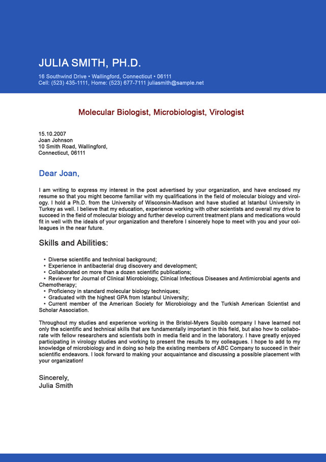 Cover Letter Examples For Biologist Sample Resume Templates Free